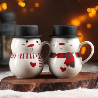 Кружка новогодняя «Снеговик в шляпе» микс купить в Минске +375447651009