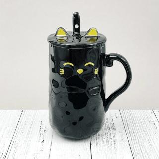 Кружка с ложкой «Black cat» 420 мл. Минск +375447651009