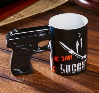 Кружка с ручкой- пистолет «Не зли босса» купить в Минске +375447651009