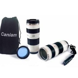 Термос-кружка в виде объектива от фотоаппарата с подогревом купить