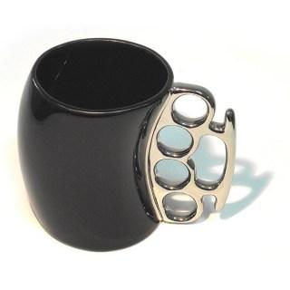 кружка кастет черная с серебристой ручкой купить