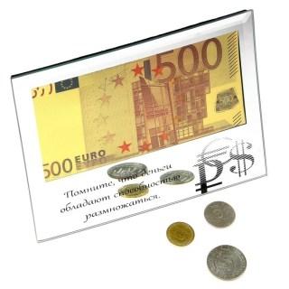 Купюра 500 Евро в рамке «Деньги обладают способностью размножаться» купить в Минске +375447651009