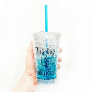 Купить Ледяной стакан «FROSTY MUG» с трубочкой и крышкой синий в Минске +375447651009