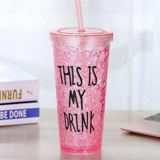 Ледяной стакан «This is my drink» с трубочкой красный Минск +375447651009