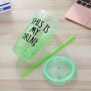 Ледяной стакан «This is my drink» с трубочкой зеленый Минск +375447651009