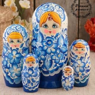Матрешка «Анечка» роспись гжель 5 кукол купить в Минске +375447651009