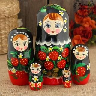Матрешка «Анечка» роспись хохлома 5 кукол купить в Минске +375447651009