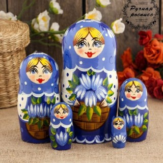 Матрешка «Анечка с подснежниками» 5 кукол купить в Минске +375447651009