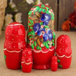 Матрешка «Евдокия в красном платочке» 5 кукол купить в Минске +375447651009