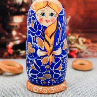 Матрешка «Краса» синяя 5 кукол купить в Минске +375447651009
