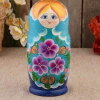 Матрешка «Танечка» голубой платок 5 кукол купить в Минске +375447651009