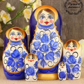 Матрешка «Василина» роспись гжель 5 кукол купить в Минске +375447651009