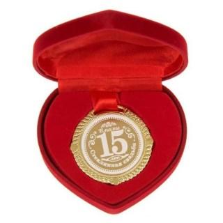 Медаль в бархатной коробке «Стеклянная свадьба»15 лет вместе Минск