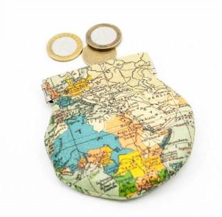 Монетница «Карта мира» кожаная купить