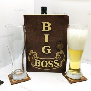 Набор бокалов для пива «BIG BOSS» в подарочной коробке коричневый Минск +375447651009