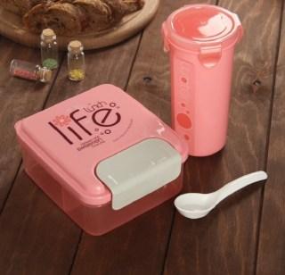 Набор для обеда «Life»:бутылка, ланч бокс розовый купить в Минске +375447651009