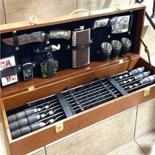 Набор для шашлыка в чемодане «Барон» 20 предметов коричневый