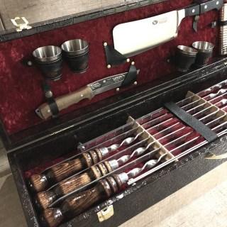Набор для шашлыка в кожаном чемодане «Elite» 14 предметов Минск +375447651009