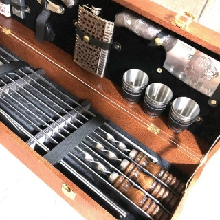 Набор для шашлыка в кожаном чемодане «Elite» 20 предметов Минск +375447651009