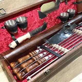 Набор для шашлыка в кожаном чемодане «Эстет» 15 предметов Минск +375447651009