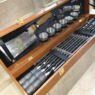 Набор для шашлыка в чемодане «Этикет» 17 предметов коричневый Минск +375447651009