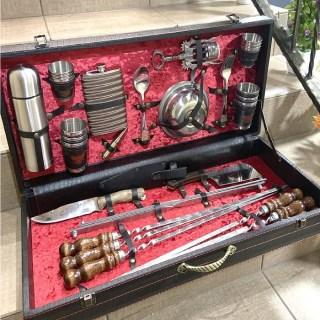Набор для шашлыка в кожаном чемодане «Люкс» 44 предмета черный Минск +375447651009