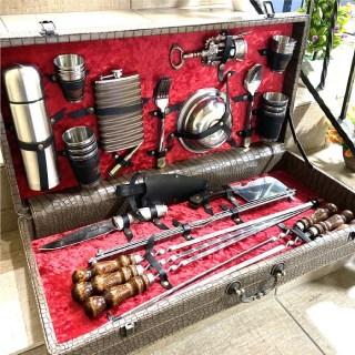 Набор для шашлыка в кожаном чемодане «Люкс» 44 предмета коричневый Минск +375447651009