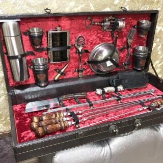 Набор для шашлыка в кожаном чемодане «Люкс» 44 предмета Минск +375447651009