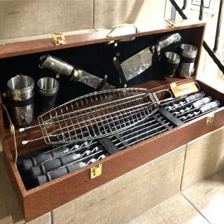 Набор для шашлыка в кожаном чемодане «На причале» 20 предметов Минск +375447651009