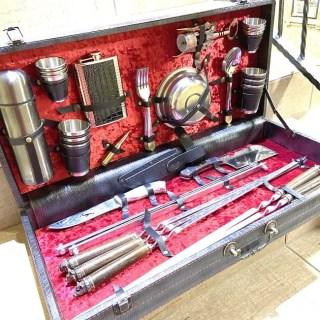 Набор для шашлыка в кожаном чемодане «PREMIUM» 44 предмета черный Минск +375447651009