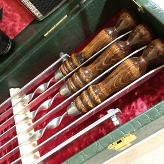 Набор для шашлыка в кожаном чемодане «Престиж» 14 предметов зеленый Минск +375447651009