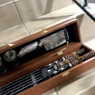 Набор для шашлыка в кожаном чемодане «Вояжер» 12 предметов Минск