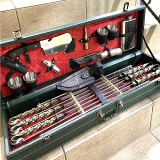 Набор для шашлыка в кожаном чемодане «Бисмарк» 18 предметов зеленый Минск +375447651009