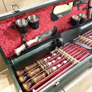 Набор для шашлыка в кожаном чемодане «Гусарский» 15 предметов Минск +375447651009