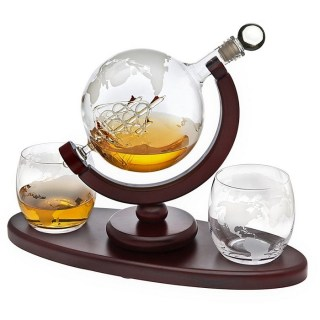 Набор графин- декантер «Корабль в глобусе» 2 стакана на деревянной подставке Минск +375447651009
