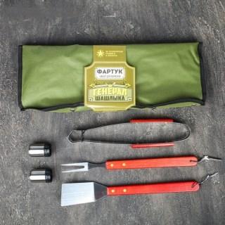 Набор-фартук для шашлыка и барбекю «Генерал шашлыка» зеленый купить в Минске +375447651009