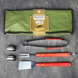 Набор-фартук для шашлыка и барбекю «Wild Kitchen» зеленый купить в Минске +375447651009