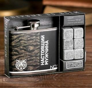 Набор:фляжка 150 мл+камни для виски «Настоящий мужчина» купить в Минске +375447651009