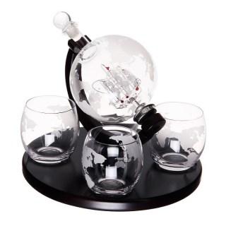 Набор графин -декантер «Корабль в глобусе» +4 стакана для виски купить Минск +375447651009