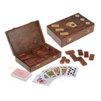 Набор игр в деревянной шкатулке:карты, домино, кости купить в Минске +375447651009