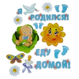 Набор магнитов на авто «Я родился! Еду домой!» 18 штук купить Минск +375447651009