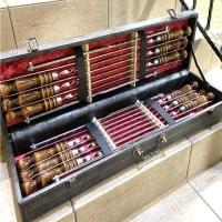 Набор шампуров с мангалом в кожаном чемодане «Люкс» серый Минск +375447651009