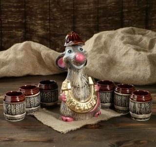 Набор-штоф с рюмками «Крыса с подковой» 0,6 л. купить в Минске +375447651009
