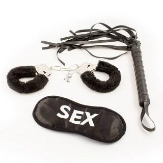 Набор влюбленных (наручники, повязка, плетка) черный купить Минск
