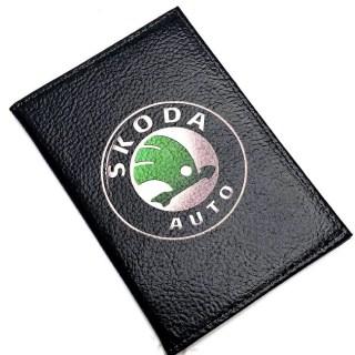 Обложка для автодокументов «SKODA» кожаная Минск +375447651009