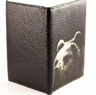 Обложка на автодокументы «Медведь» кожаная купить