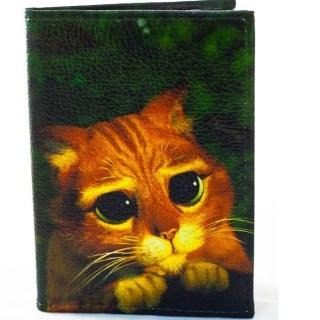 Обложка на автодокументы «Рыжий кот» кожаная купить