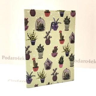 Обложка на паспорт «Цветные кактусы» кожаная Минск +375447651009