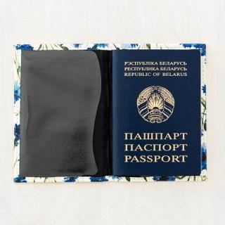 Обложка на паспорт «Васильки» кожаная Минск +375447651009