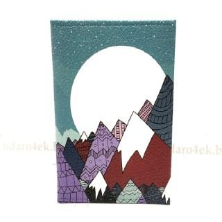 Обложка на паспорт «Закат в горах» кожаная Минск +375447651009